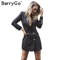 BerryGo OL double breasted long suit blazer femme Autumn cool slim white blazer Women coat jacket casual black classic outwear
