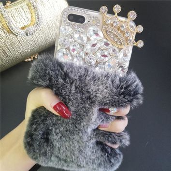 LaMaDiaa Luxury Bling Rhinestone Crystal Diamond Crown Soft Rabbit Fur Back Phone Case Cover For iPhone X 7 8 Plus 6 6s Plus 5S