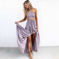 HALTER NECK SEXY LONG FORK DRESS