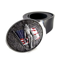 Fashion women belt with American flag western cowgirl Clip metal belt buckle high quality Black faux leather belts for women