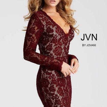 Jovani JVN42635 Lace Fitted Long Sleeve Dress with V Neckline