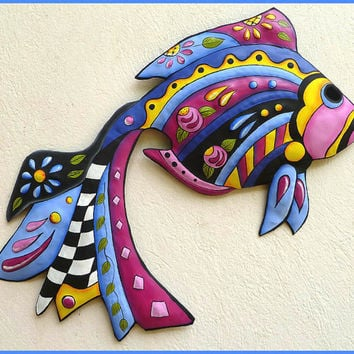 Metal Wall Art, Tropical Fish Wall Hanging, Hand Painted Metal, Metal Art Tropical Decor, Funky Art, Haitian Art, Garden Decor - J-451-BL