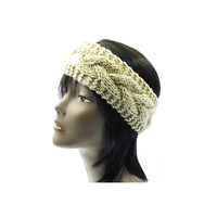 Beige Wide Cable Knit Headband