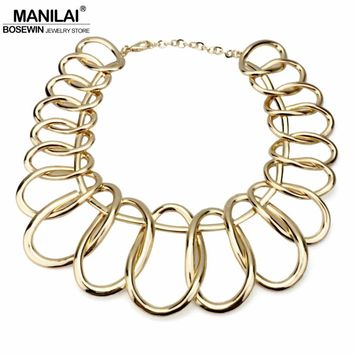 MANILAI Punk Alloy Big Chokers Necklaces For Women 2018 Fashion Jewelry Exaggerated Circle Metal Bib Chunky Necklace Statement