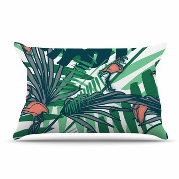 "bruxamagica ""Tropical Leaves Flamingo White"" White Green Animals Floral Digital Mixed Media Pillow Sham"