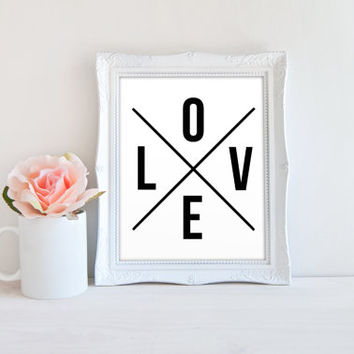 Minimalist LOVE Letter Cross Sectioned Printable Sign, Printable Digital Wall Art Template, Instant Download, Customizeable 8x10