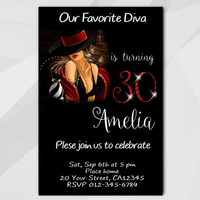 30th Birthday invitation, Chalkboard Diva Birthday Invitation, 13th 18th 21st 30th 40th, Custom Birthday etsy invite A006-4