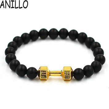 ANILLO Real Mixed Unisex New Arrival Metal  Gold Color  Barbell Bangle Jewelry Fitness  Prayer Dumbbell Bracelets