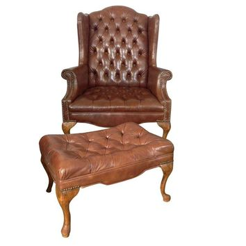 Pre-owned Vintage Brown Vinyl Wingback Chair & Ottoman