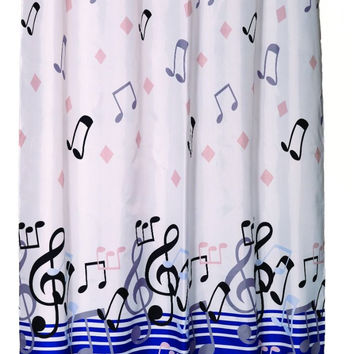 fun Music Blue Notes Shower curtain w/ Built in Flat Top Rings No Hooks Needed