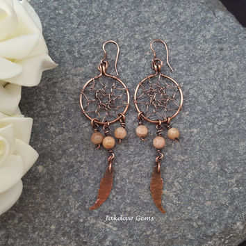 Peach Moonstone and Copper Dreamcatcher Earrings
