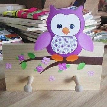 Purple Owl Kids Girls Wooden CLOTHES PEG Rack Bathroom Bedroom 2CR002
