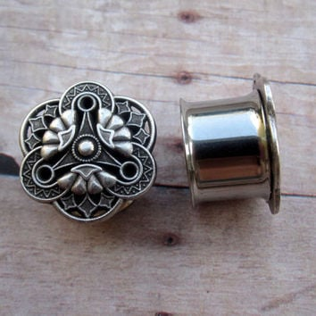 "Pair of Antique Silver Steampunk Plugs - Handmade Gauges - Earrings - 9/16"", 5/8"", 3/4"" (14mm, 16mm, 19mm)"