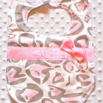 Personalized Bib with Matching Bow - Baby Girl Bib Light Pink and Light Tan Leopard