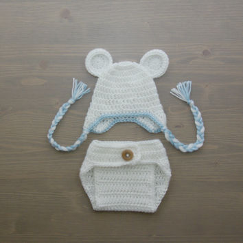 Crochet Polar Bear Baby Costume, Crochet Bear Costume, Crochet Costume, Crochet Polar Bear Hat, Newborn Photo Prop, Diaper Cover Set