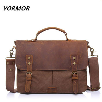 Canvas Leather Men's Briefcase, Casual Vintage Men's Cross body Bag, Business Shoulder Messenger Bag For Women Man