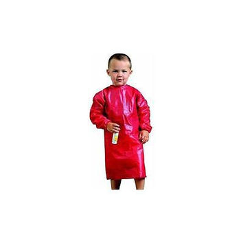 "Schoolsmart Easy-To-Clean Vinyl Toddler Art Smock Apron, 21"" X 16.5"" Red"