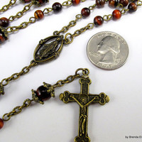 Catholic Rosary -Red Tiger Eye with Antique Brass