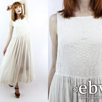 Vintage 90s Embroidered White Maxi Dress M L Vintage Hippie Dress Hippy Dress Hippie Wedding Dress Hippy Wedding Dress Boho Wedding Dress