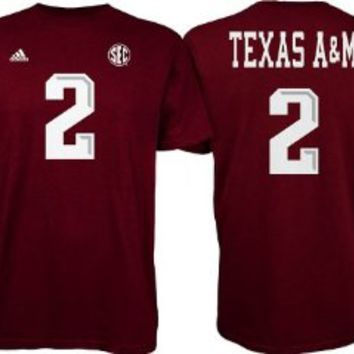 Johnny Manziel #2 Red Texas A&M T-Shirt