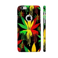 Marijuana Leaf Rasta Colors Dripping Paint Phone Case Back Cover For Apple iPhone 6 / 6s with hole for logo Mobile | Artist: BluedarkArt