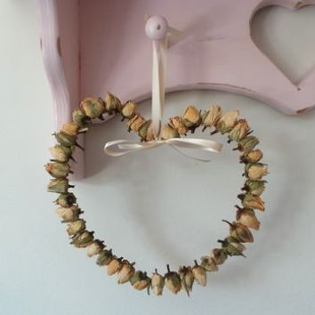 Decorative Dried Rosebud Heart