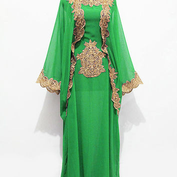New Moroccan Hoodie Kaftan Green Chiffon FULL Gold Embroidery Dubai Abaya Maxi Dress farasha Hijab Kaftan Style Jalabiya - For Women