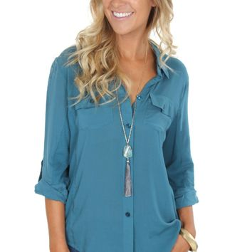 Ribbed Button Down Teal