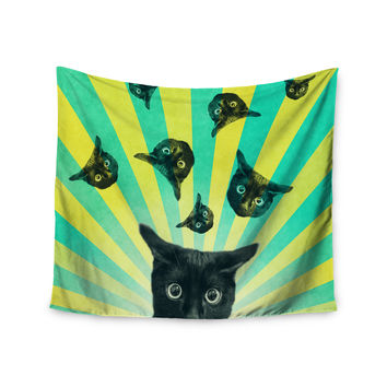"Cvetelina Todorova ""Cat Explosion"" Yellow Green Wall Tapestry"