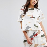 Native Youth Relaxed Button Back Crop Top In Abstract Print Co-Ord at asos.com