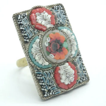 Ring Mosaic jewelry floral Italian Classic Vintage Size 6 Gold tone  and black red and White ceramic. Rectangle vintage ring.