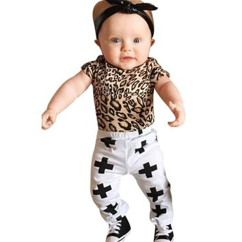 Cross Pants & Cheetah Print Onesuit 2pc- [12MO-3T]