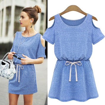 Summer flutter sleeve boho dress - Blue Grey