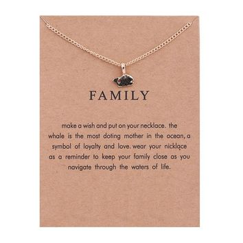 Golden Little Whale Card Alloy Clavicle Pendant Necklace  171208