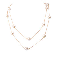 Laconic Golden Chain Statement Necklace with White Pearl