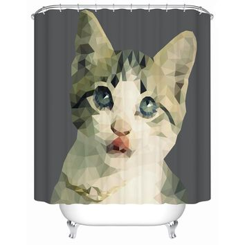 Abstract 3d Shower Curtain Fabric Cat Duck Parrot Art Pattern Polyester Bathroom Window Bathtub Curtain