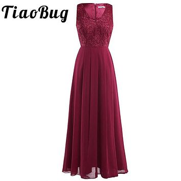New Fashion Women Ladies Long Maxi Embroidered Dress Floral Padded Chiffon Sleeveless Pleated Waist Party Long Bridesmaid Dress