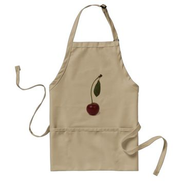 Red cherry berry adult apron