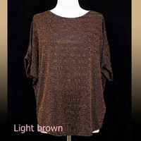 Glitter shirt Loose top Light brown black stripe crew neck workout shirts women blouse size M/ L one size