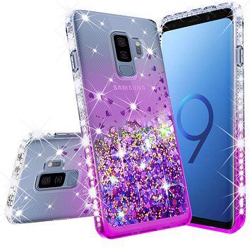 Samsung Galaxy S9 Plus Case Liquid Glitter Phone Case Waterfall Floating Quicksand Bling Sparkle Cute Protective Girls Women Cover for Galaxy S9 Plus - Purple