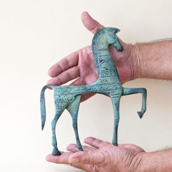 Bronze Horse, Greek Geometric Metal Art Sculpture, Bronze Sculpture, Museum Quality Art, Greek Art, Ancient Greece, Equine Decor
