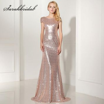 Real Picture Rose Gold Shining Sequin Bridesmaid Dresses Sexy Backless Long  Wedding Party Gowns Simple Maid d953a184f1db