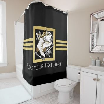 Ice | Figure Skating Black Faux Gold Modern Chic Shower Curtain