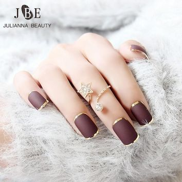 24pcs New Brown False Nails Metallic Gold Acrylic Nails Tips Press On Nails French Acrylic Nail Tips With Free Glue 10 sizes