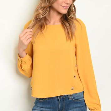 Long sleeve round neckline button detail tunic blouse