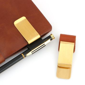 Brass pen clip 2 sizes for Vintage leather traveler notebook cowhide diary spiral loose leaf metal pen holder with leather case