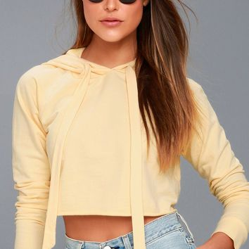Work it Out Pale Yellow Cropped Hoodie