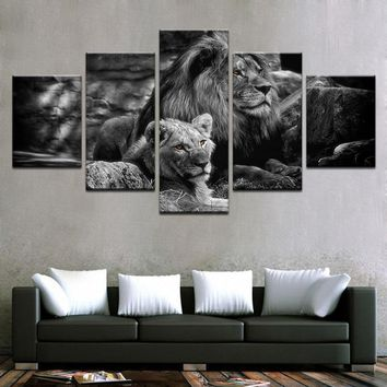 5 Pieces Black White Animal Pictures King Of The Forest Lions Wall Art