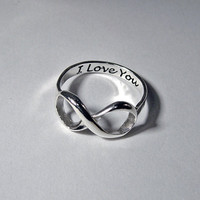 Infinity ring Sterling engraved silver stacking LOVE custom message