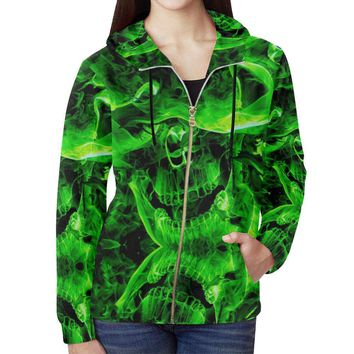 Green Burning Skulls Women's All Over Print Full Zip Hoodie